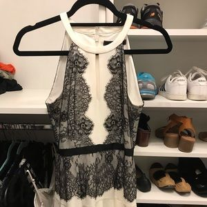 Off white with black lace bcbg dress